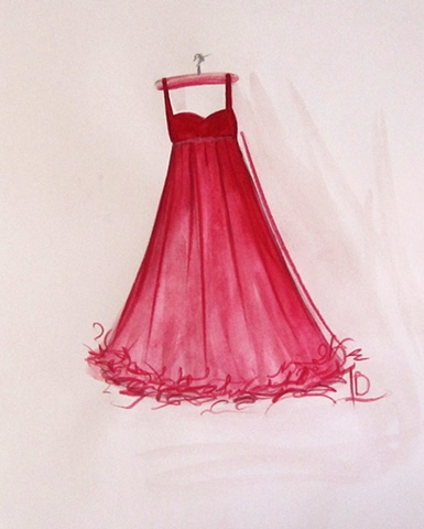Small colour sketch of a red dress in watercolour used as a study for a larger oil painting by Linda Boucher.
