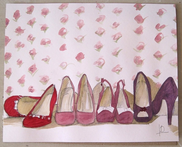 purple shoes painted in watercolour on paper. This sketch was the study for a larger painting by Brighton artist Linda Boucher