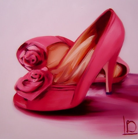 Artwork by Brighton modern artist Linda Boucher. Oil painting on canvas, featuring rose red shoes, with high heels and flower details.