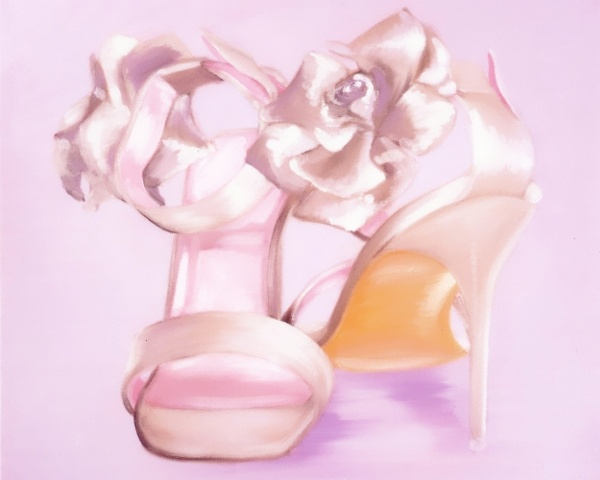 Oil painting on large canvas of silver bridal shoes with gorgeous flower detail. Commission a painting of your wedding shoes for a unique artwork and special gift. By Brighton artist Linda Boucher.