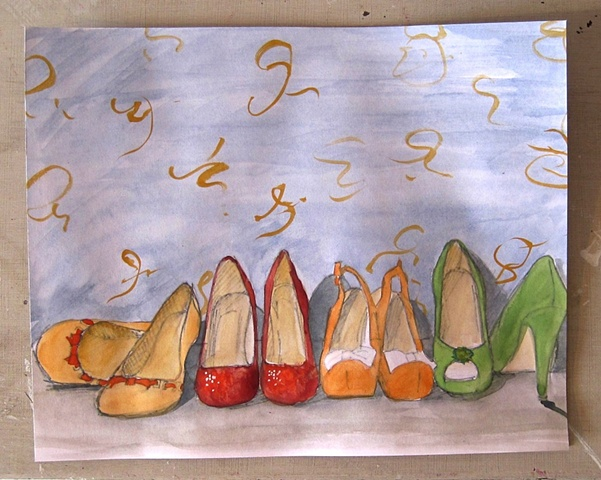 small watercolour sketch of vintage style shoes by Brighton artist Linda Boucher
