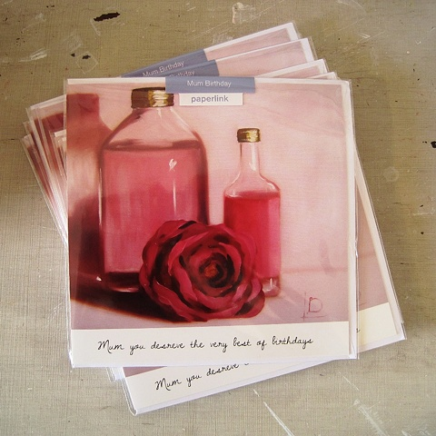 Perfume and a rose, an image commissioned and licensed by Paperlink for use on a Mum's birthday card, painted by Linda Boucher.