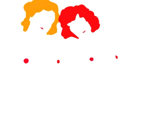 Pop Art illustration of two women, one blonde, one a red head. The colours of this minimalist image create beautiful negative spaces. By Linda Boucher for StockingTops