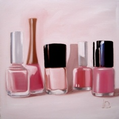 Nail polish bottles feature in this small original still life painting by Brighton artist Linda Boucher.
