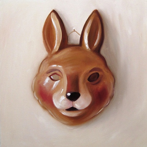 trompe l'oeil oil painting of a childs fancy dress rabbit mask, by Brighton artist Linda Boucher