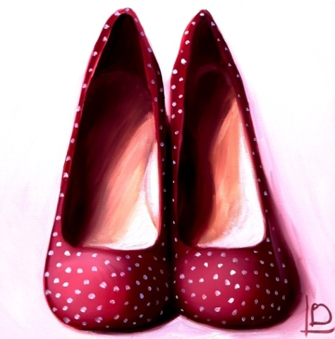 Brighton based artist Linda Boucher is best known for her paintings of shoes, such as these adorable red heels with white polka dots.