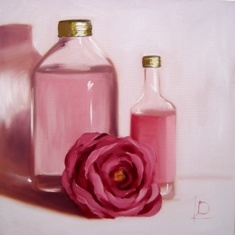 Pretty pink bottles and flower create a romantic painting by Brighton artist Linda Boucher. Created using high quality oils on a canvas board, this small painting would make a great addition to your collection.