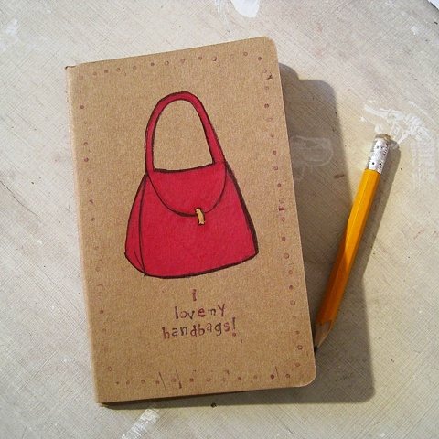 I love handbags hand illustrated Moleskine notebook by brighton artist Linda Boucher