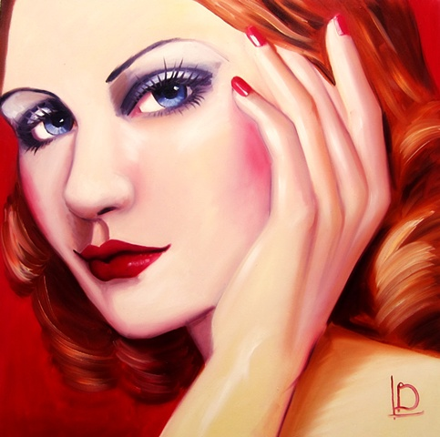 Original oil painting of a gorgeous forties style woman, by Linda Boucher from Brighton. Using strong reds and beautiful blue eyes, this painting has a vintage pinup feel to it.