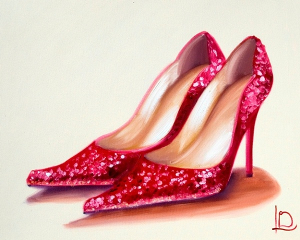 Brighton artist Linda Boucher famously works from her seafront studio in the Art Quarter, creating beautifully feminine artwork such as this oil painting of red glittery shoes.