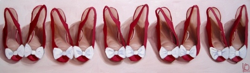 Horizontal canvas depicting an oil painting five pairs of cute red shoes, with little white bows. By Brighton artist Linda Boucher
