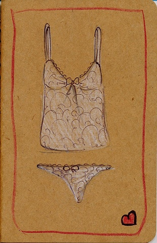 A teeny tiny thong, and matching camisole both in white lace adorn the cover of this hand illustrated Moleskine notebook by Linda Boucher for the Stocking Tops range.