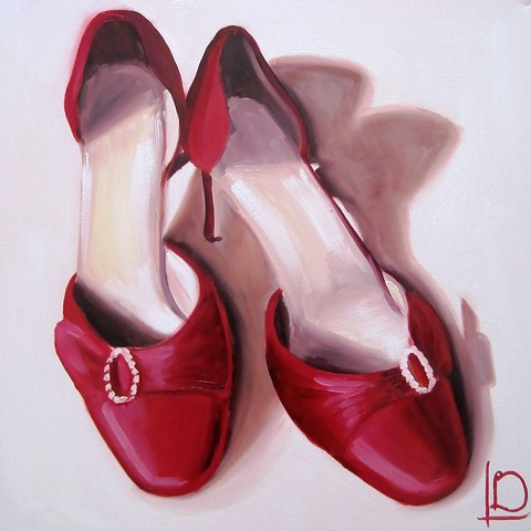 red wedding shoes painted in oil on canvas commissioned as a wedding anniversary gift from husband to wife, from Linda Boucher