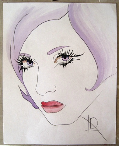 Watercolour sketch of a gorgeous woman with very long eyelashes, by Brighton Artist Linda Boucher