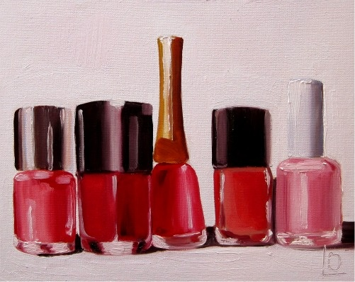 original oil painting of red nail polish bottles, by Brighton artist Linda Boucher. painted in her seafront studio, and perfect for a vamp's boudoir.