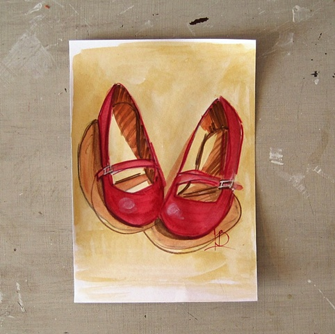 Red mary jane shoe sketch, using watercolour on paper. By Brighton artist Linda Boucher