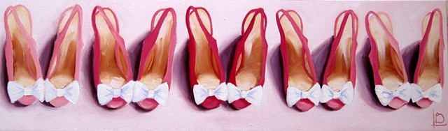 five pairs of cute pink shoes, with gorgeous white bows on their toes by Brighton artist Linda Boucher. Painted in her brighton seafront studio.