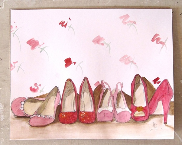 rose patterned wallpaper and warm red shoes on paper, painted using watercolours. By Brighton artist Linda Boucher