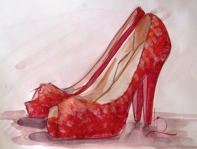 Red Sparkle Peeptoe Shoe sketch. Watercolour on paper by Linda Boucher, artist.