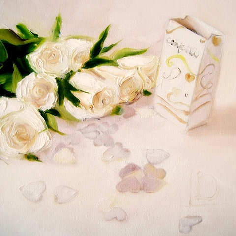 little still life with a wedding theme. Confetti, hearts and white roses. Perfect wedding gift, or inspiration to commission a wedding present for your wedding day.