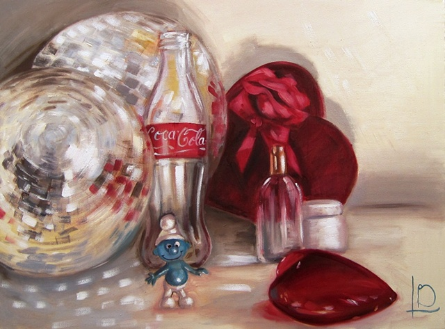 Original oil painting on canvas, by Brighton artist Linda Boucher. Coca cola bottle, hearts disco balls, and a small Smurf figure. Light reflects from the mirror balls, and through the glass bottles and objects.