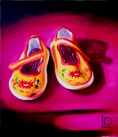 Beautifully embroidered Chinese slippers, painted in oils on canvas by Linda Boucher
