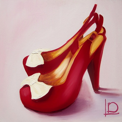 Yummy cerise slingbacks with white bows. This painting is an oil on canvas original.