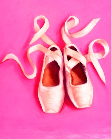 Cream satin pointe ballet shoes with ribbons on bubblegum pink. Original canvas oil painting by Linda Boucher
