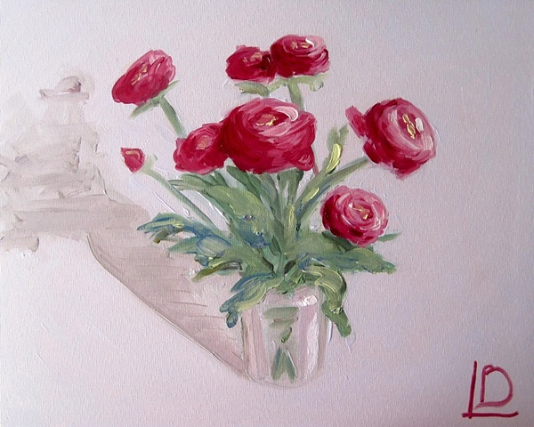 small original painting of spring ranunculus flowers by Brighton painter Linda Boucher working from her seafront studio