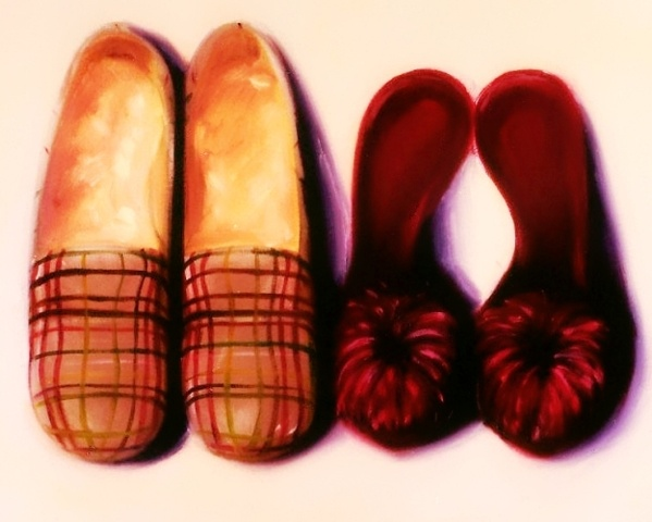 His and hers slippers, tartan sheepskin and fluffy marabou mules feature in this original oil painting by linda boucher.