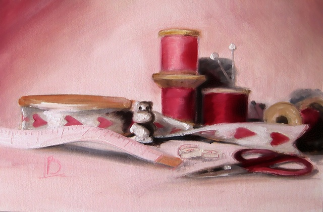 Oil painting of Hippo surrounded by sewing accessories and haberdashery, by Brighton artist Linda Boucher.