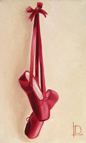 Brighton artist Linda Boucher presents an original oil painting of red satin pointe ballet shoes with ribbons and bow.