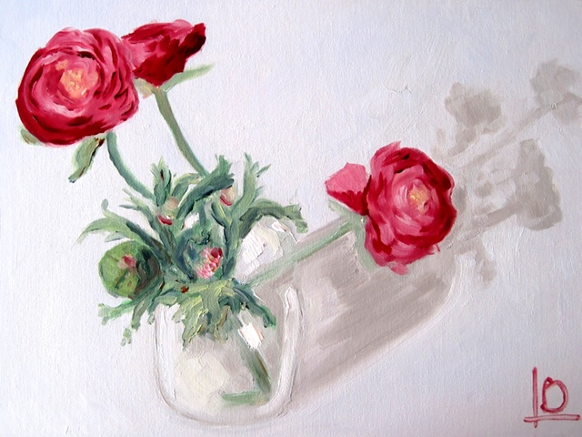 Pink and red flowers painted in oils on canvas board by Brighton artist Linda Boucher, painted in her brighton art studio in kings road arches right on the beach.