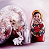 Matryoshka and Bunny Original Oil Painting by Linda Boucher