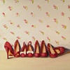 Little Red Shoes Original Oil Painting By Linda Boucher