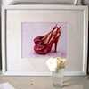 Red Sparkly Shoes Original Oil Painting by Linda Boucher
