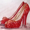 Red Sparkle Peeptoe Shoes Sketch by Linda Boucher