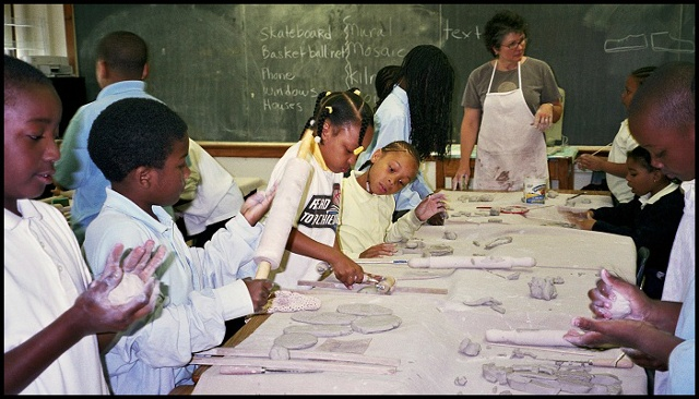 Students Making Tiles