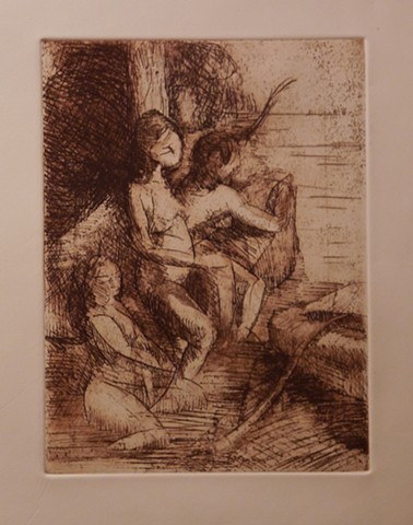 Diana and Nymphs Etching Acquatint