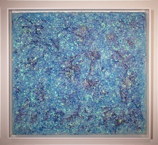 blue mixed media painting/art object