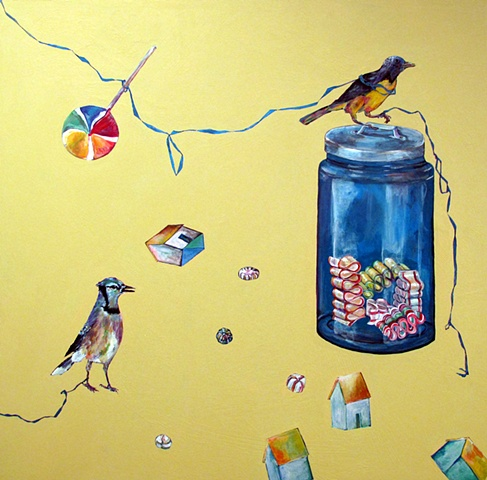 Two birds and candy jar