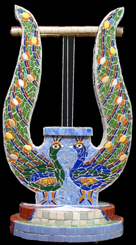 Poema, Lyre, mosaic, musical instrument, harp, bible, hebrew