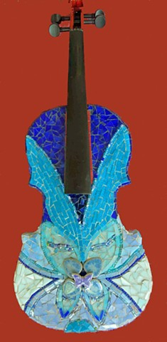 blues, blue, violin, music, mosaic, string, instrument