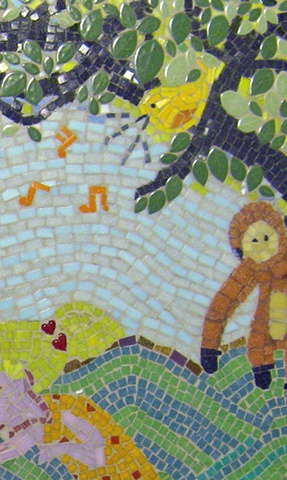 singing yellow bird  anju jolly mosaic art
