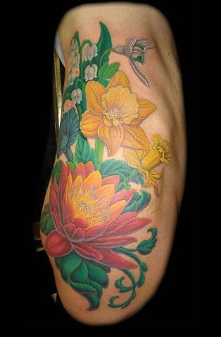 tattoo flowers hip side color tattoos salisbury maryland
