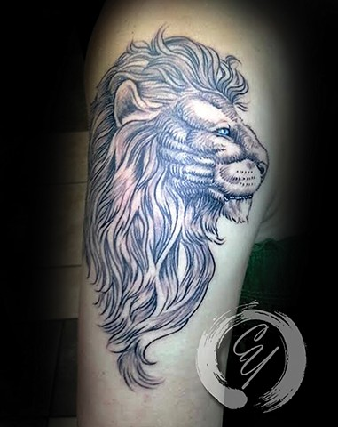 cyrus high tattooer crucial tattoo studio ocean city maryland delaware virginia best tattoos lion sketch