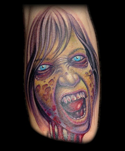 Tattoo zombie horror blood girl face color portrait tattoos salisbury maryland tattoos