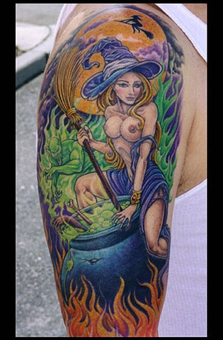 sexy witch tattoo color pin up spells smoke witch broomstick tattoos salisbury maryland