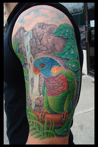 tattoo bird rainforest waterfall salisbury maryland