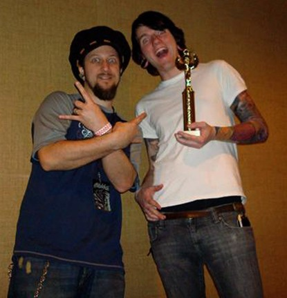 Jon and Josh after winning an award for Josh's sleeve at the Baltimore Tattoo Convention